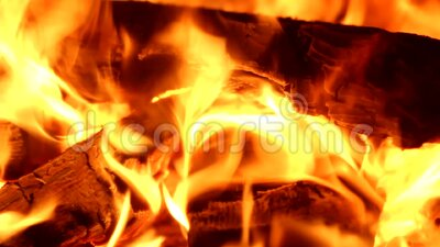 Video bright fire in a fireplace stock video footage