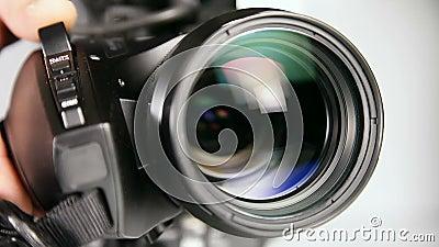 Video camcorder - lens dicht schot stock videobeelden