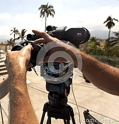 Video camera lens - recording show in TV
