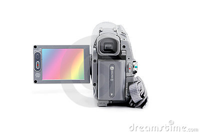 Video camera  with open viewfinder