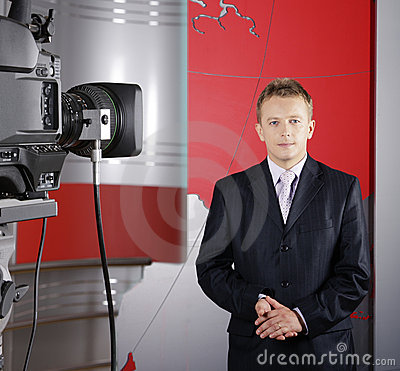 Video camera and television reporter Editorial Photography