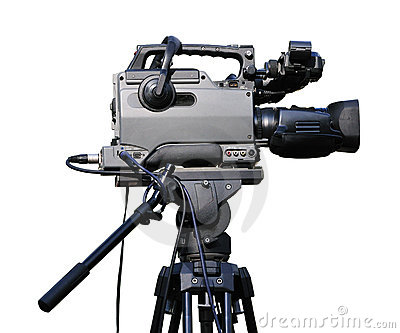 Video camera on tripod
