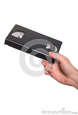 Video cassette in hand