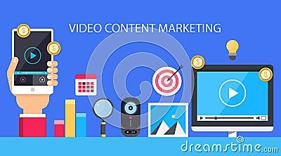 Video content marketing. Flat illustration. Vector Illustration