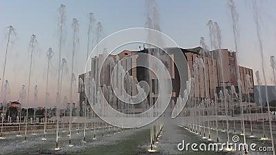 Video de las fuentes del Palacio Nacional de Cultura filmación de Sofía en el verano de 2019 metrajes