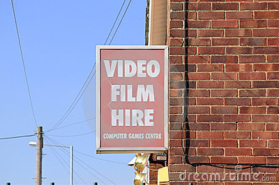Video film hire sign on wall