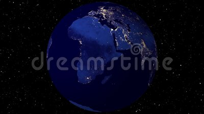 Video Footage Mooie roterende aarde Weergave van ruimtesatelliet Lichtgloed van steden bij nacht Sluit de Animatieplaneet op royalty-vrije illustratie