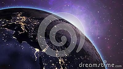 Video Footage van de kijkhoek Mooie zonsopgang over de aarde Van het licht van de Stad 's Nachts tot de tijd van de Dag verandere stock illustratie