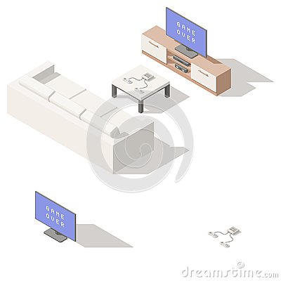 Video game console lowpoly isometric icon set Vector Illustration