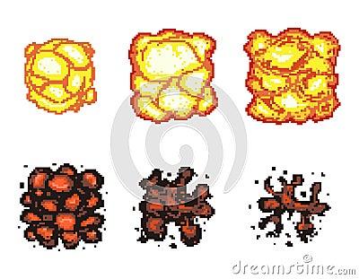 video game explosion animation in pixel art stock vector. Black Bedroom Furniture Sets. Home Design Ideas