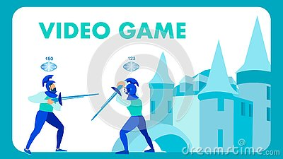 Video Game in Medieval Setting Flat Vector Banner Vector Illustration