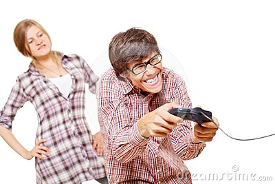 Video game teen and his angry girl