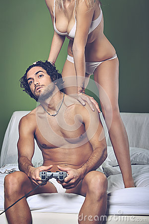 Video games addicted man Stock Photo