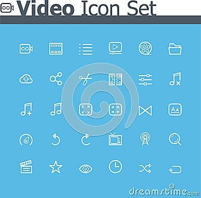 Free Video Icon Set Royalty Free Stock Photo - 35670395