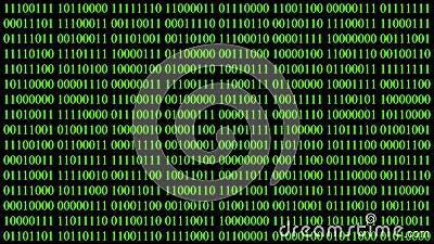 Video 4K Binary encoding green light glowing with digits background screen.Digital hacker cyberspace. Algorithm binary encryption. Web hud interface.Computer royalty free illustration