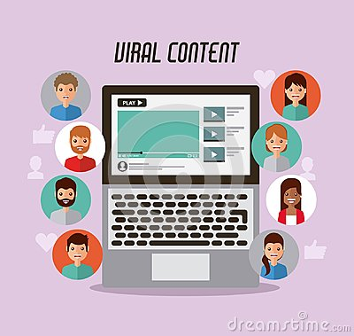 Video marketing viral content people views Vector Illustration