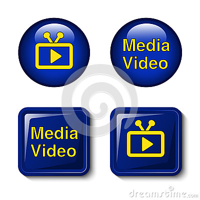 Video media icons for tv screen - buttons