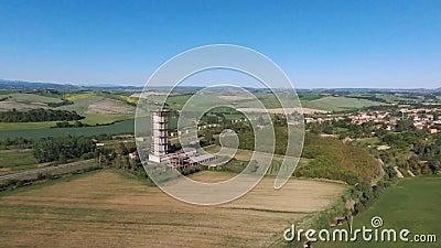 Via Francigena in tuscany near Siena, aereal stock video