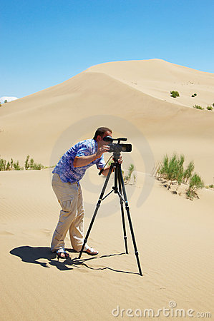 The video operator in desert