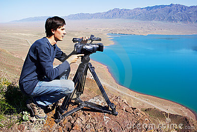 Video operator removes desert lake