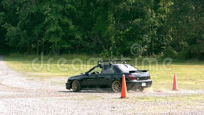 Slow motion car on gravel stock footage