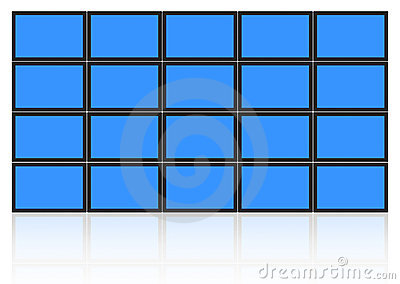 video wall of flat lcd screens isolated on white include clipping path for each tv and screen to easy place photo or design on all screens