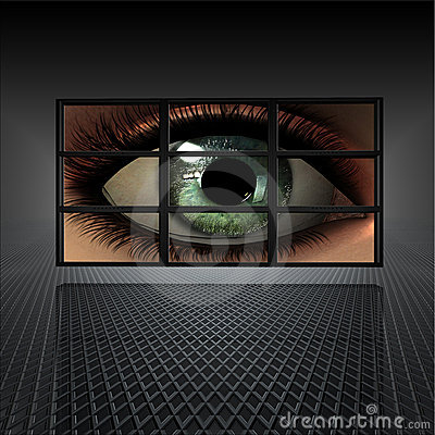 Video wall with girl eye