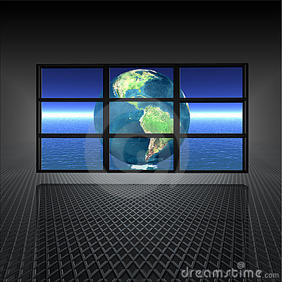Free Video Wall With Earth On Stock Photos - 12932153