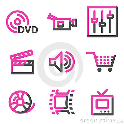 Video web icons, pink contour series