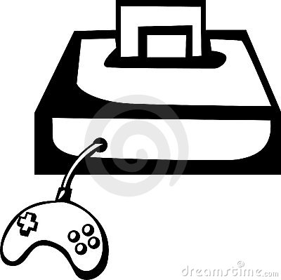 Videogame console with game and controller. Vector
