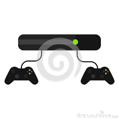 Videogame console with joysticks isolated on white. Vector Illustration