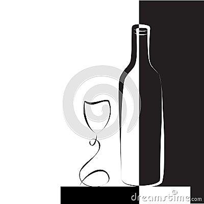 Vidrio y botella de vino para el vino