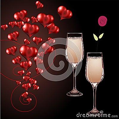 Vidros do vetor do champanhe e do coração