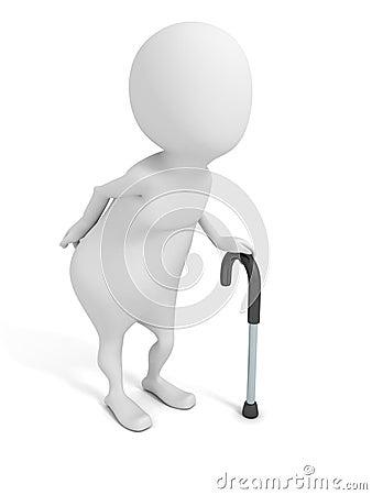 Vieil homme 3d blanc avec le bâton de marche