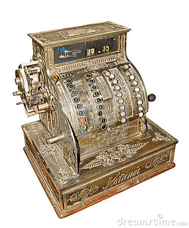 Vieille caisse comptable antique