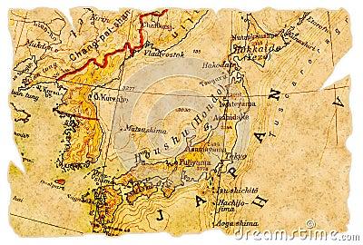 Le japon sur une vieille carte déchirée de 1949, d'isolement. une