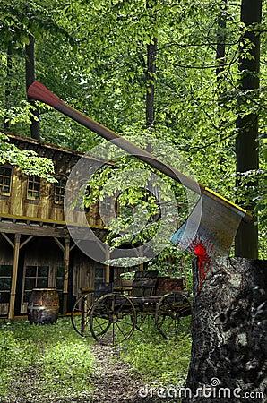 Chambre dans les bois photographie stock image 30293962 - Maison en tronc d arbre ...