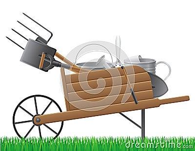 Vieille r tro brouette en bois de jardin avec le vect d 39 outil photos stock image 36255603 - Brouette de jardin en bois ...