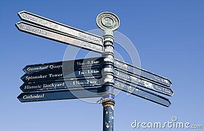 Vieilles flèches indicatrices de Portsmouth Image éditorial