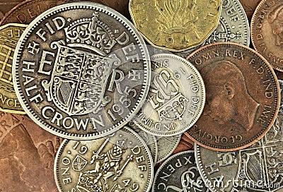 Vieilles pièces de monnaie britanniques
