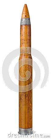 Vieja práctica de madera Shell de la artillería