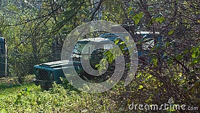 Viejo coche verde fuera de carretera en los arbustos al lado de la cerca almacen de video