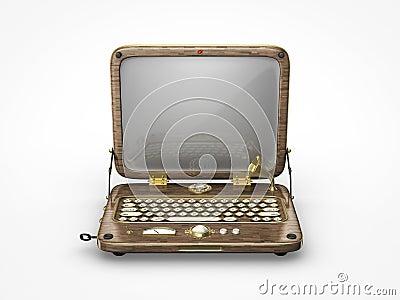 Viejo icono del ordenador portátil del vintage