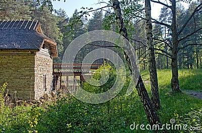 Viejo watermill en campo
