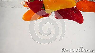 Viel frische, bunte Paprika mit Blasen und Spritzen ins Wasser stock footage