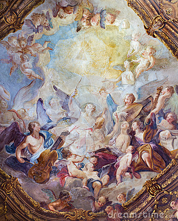 Free Vienna - Baroque Angel Choirs Fresco From Ceiling One Of Side Chapel In Michaelerkirche Or St. Michael  Church Royalty Free Stock Photography - 32310607