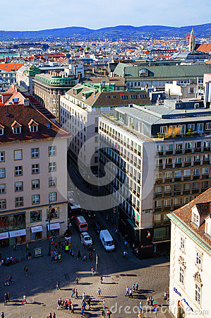 Vienna city view from Stephansdom Editorial Stock Image