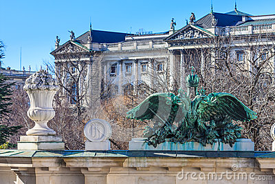 Vienna - Entrance portal of Burggarten with Hofburg Palace in ba