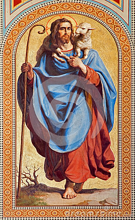 Free Vienna - Fresco Of Jesus Christ As Good Shepherd By Karl Von Blaas From 19. Cent. In Nave Of Altlerchenfelder Church Royalty Free Stock Photo - 32627455