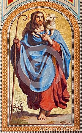 Free Vienna  - Fresco Of  Jesus Christ As Good Shepherd By Karl Von Blaas From 19. Cent. In Nave Of Altlerchenfelder Church Royalty Free Stock Photo - 32627455